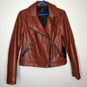 Forever 21 Burnt Orange Faux Leather Moto Jacket NWT Women's medium